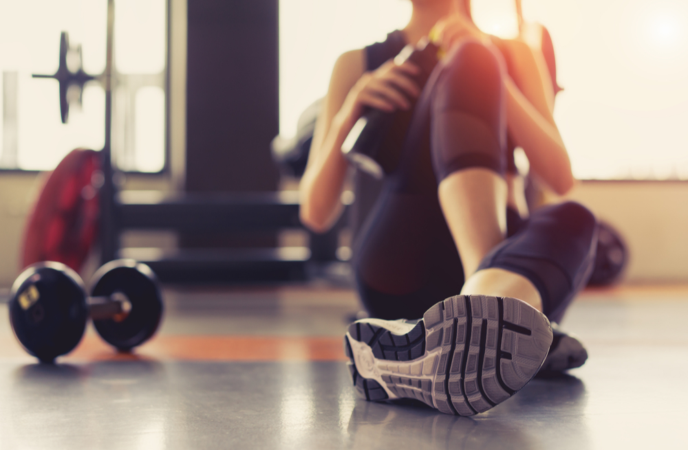 Woman recovering in gym
